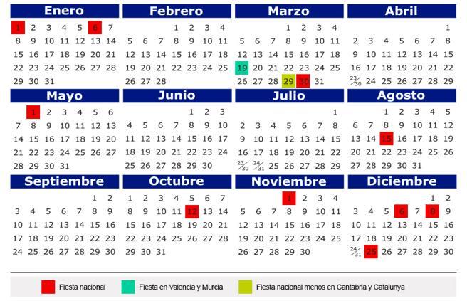 Calendario Con Note.Official Bank Holiday Dates For 2018 Cervantes Alarcon